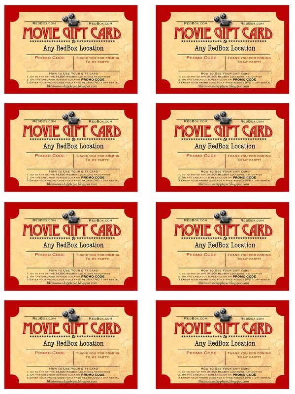 Redbox Gift Certificate Template Luxury Like Mom and Apple Pie A Summer Movies Free Printables