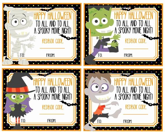 Redbox Gift Certificate Template New Redbox Gift Cards Halloween Printables Happy Halloween to