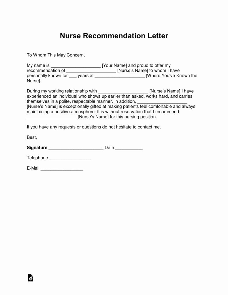 Reference Letter for Nurse Co Worker Awesome Free Registered Nurse Rn Letter Of Re Mendation