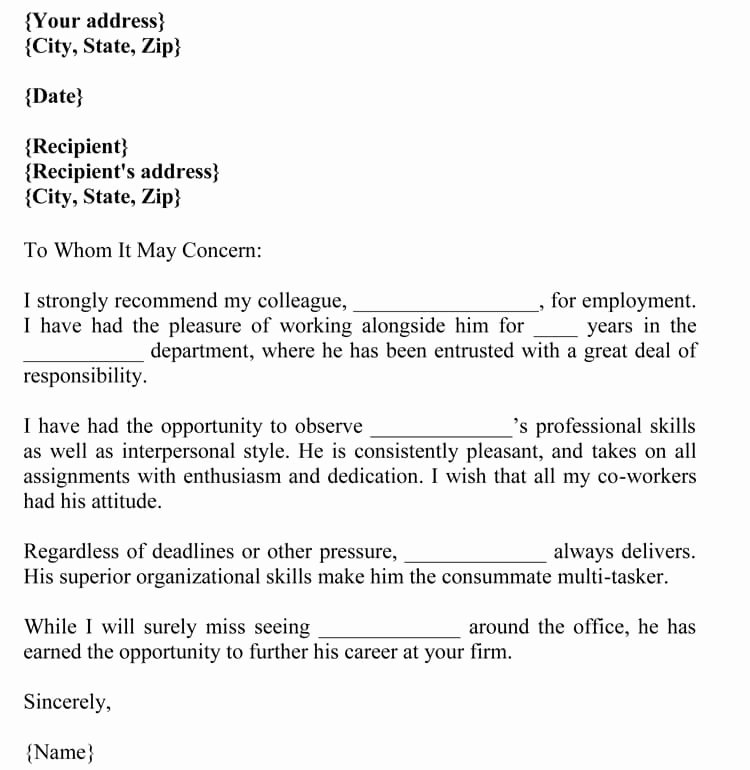 Reference Letter for Nurse Co Worker Awesome Letter Of Re Mendation for Co Worker 18 Sample Letters