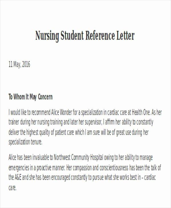 Reference Letter for Nurse Co Worker Inspirational Nursing Reference Letter Templates 12 Free Word Pdf