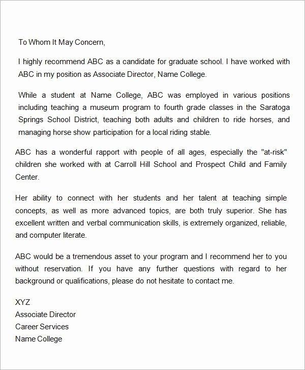 Reference Letter for Nurse Co Worker Lovely Letter Re Mendation for Graduate School