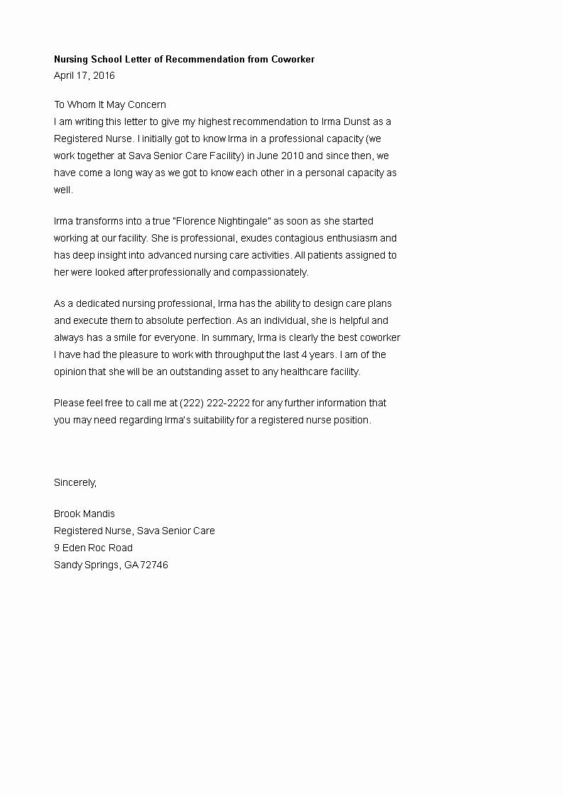 Reference Letter for Nurse Co Worker New Nursing School Letter Of Re Mendation From Coworker