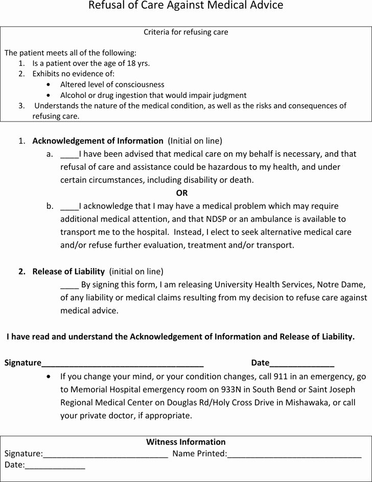 Refusal Of Treatment form Sample Best Of Against Medical Advice form