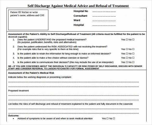 Refusal Of Treatment form Sample Fresh Against Medical Advice form 8 Samples Examples format