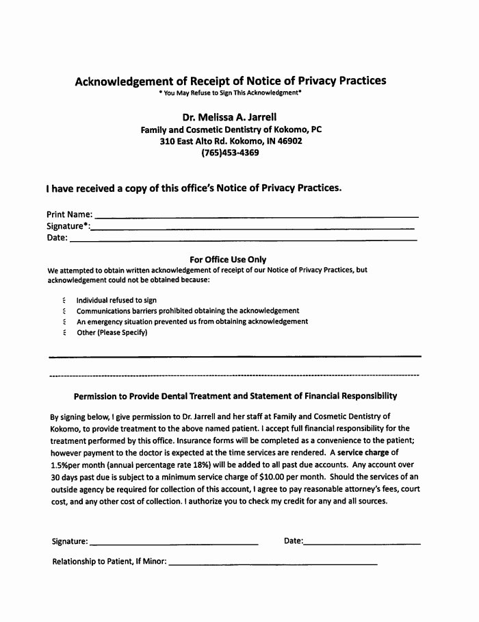 Refusal Of Treatment form Sample Fresh Family & Cosmetic Dentistry Of Kokomo Patient forms