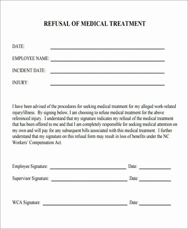 Refusal Of Treatment form Sample Luxury 46 Free Medical forms