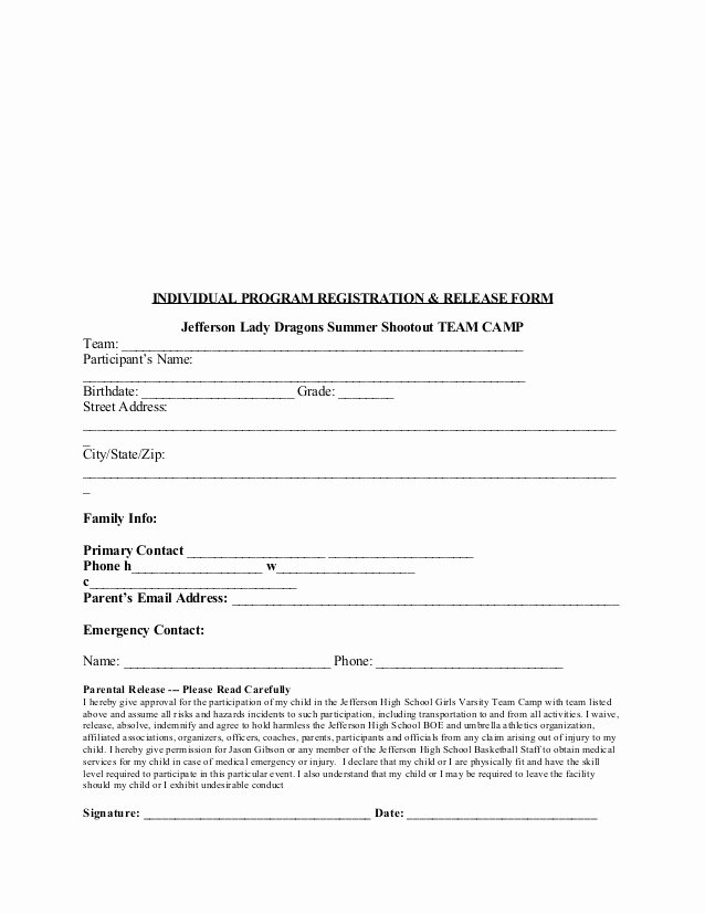Registration form for Summer Camp Awesome 2015 Jhs Team Camp Registration and Waiver form Edited for