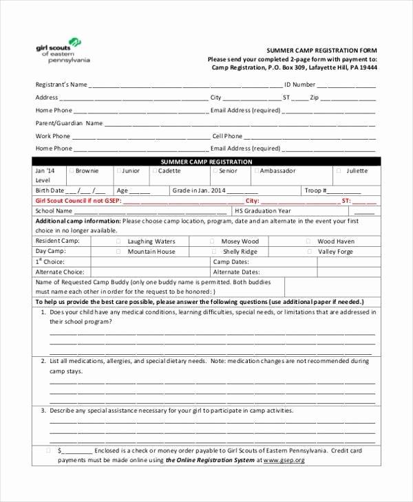 Registration form for Summer Camp Best Of Free 10 Summer Camp Registration form Samples In Sample