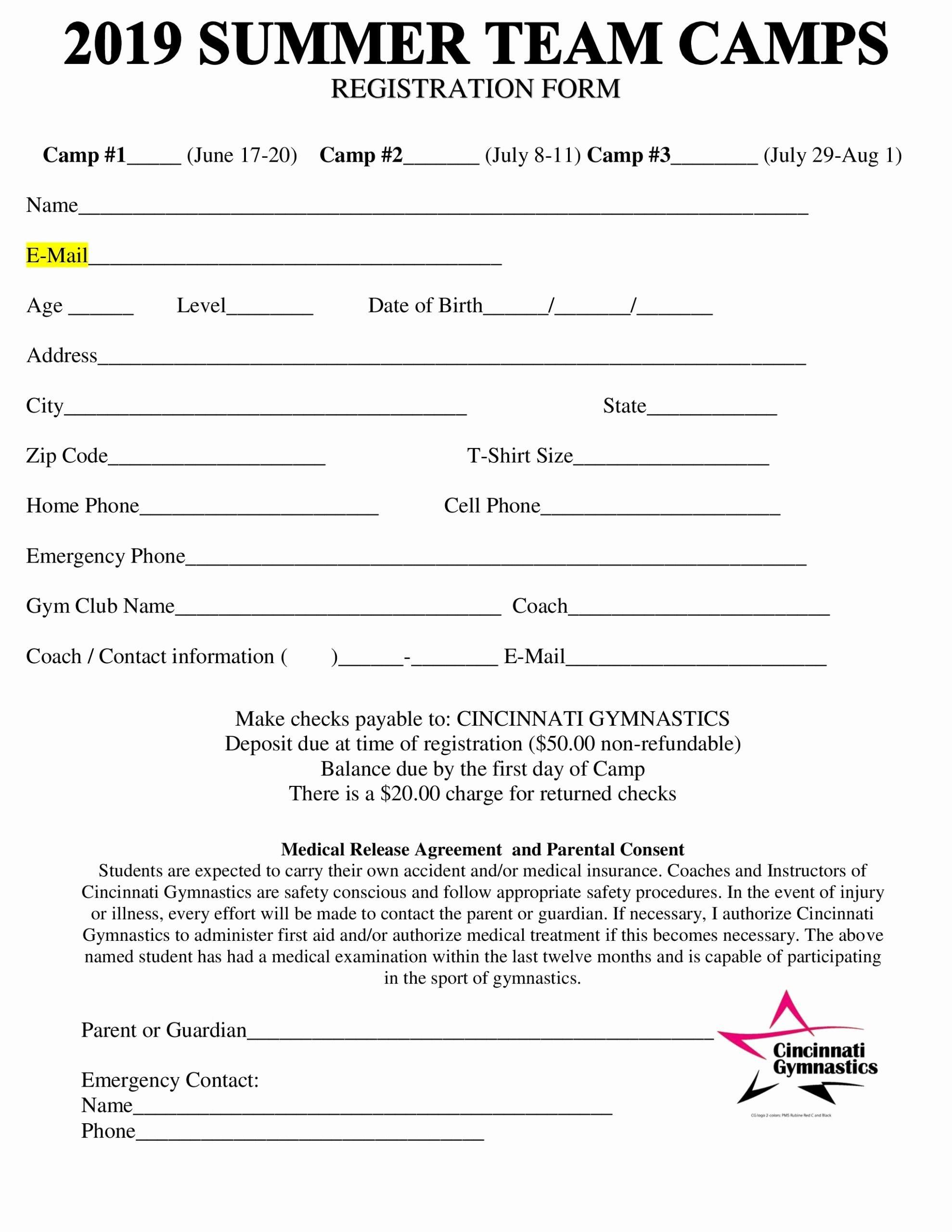 Registration form for Summer Camp Elegant 2019 Summer Team Camps Registration form Cincinnati
