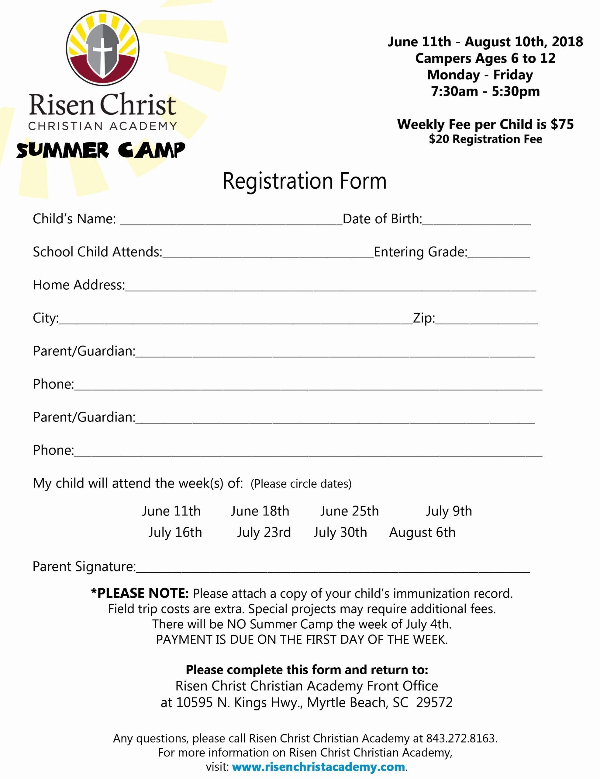 Registration form for Summer Camp Fresh Registration Risen Christ Christian Academy