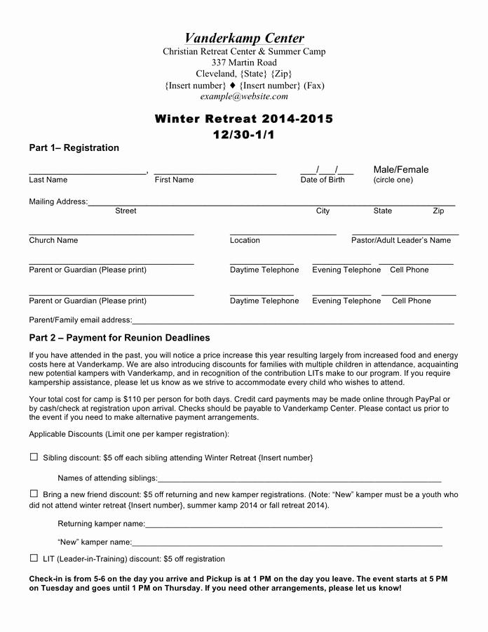 Registration form for Summer Camp Inspirational Summer Camp Registration forms In Word and Pdf formats