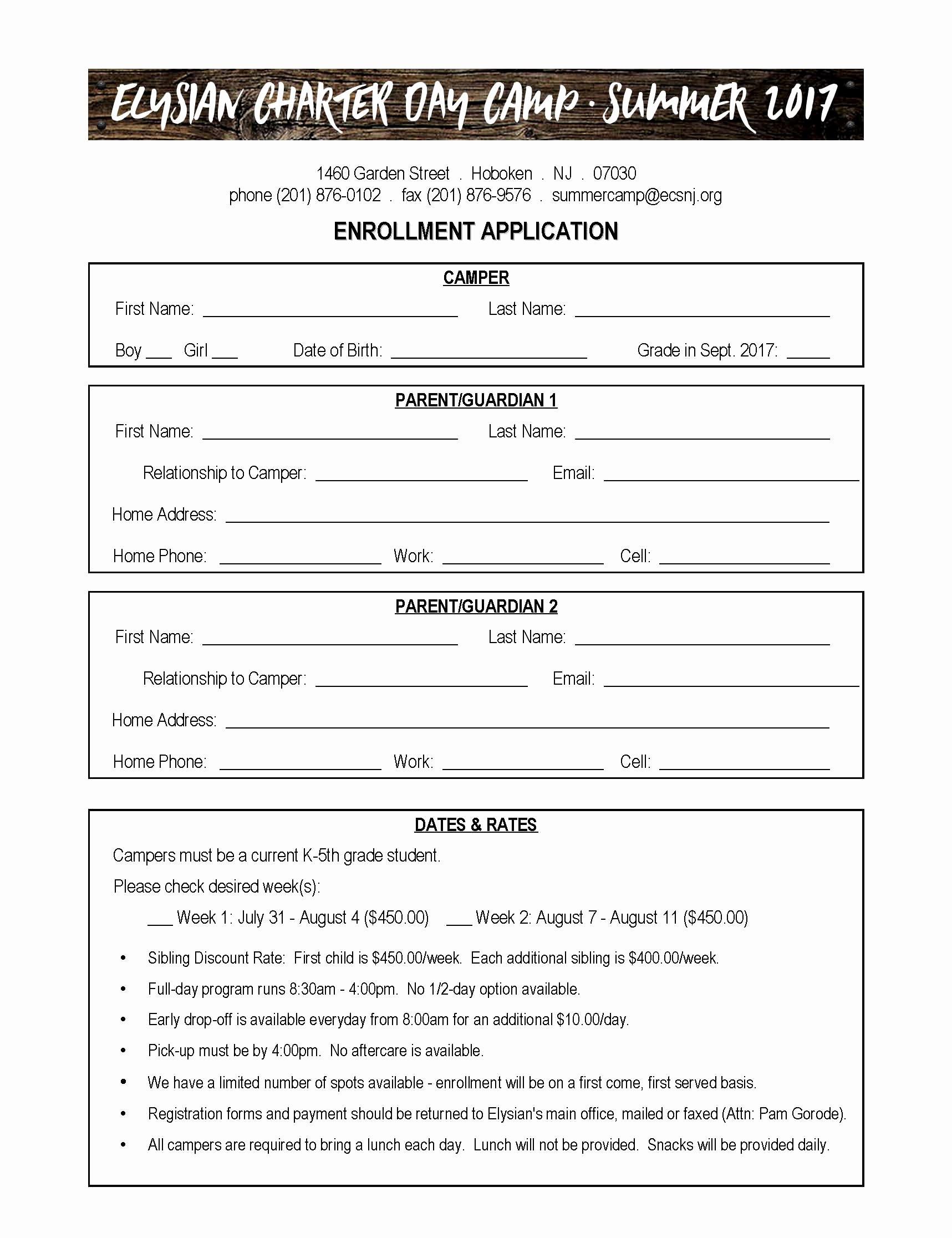 Registration form for Summer Camp Lovely Camp Registration form – Elysian Charter School