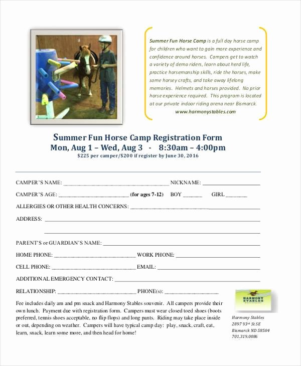 Registration form for Summer Camp New Free 10 Summer Camp Registration form Samples In Sample