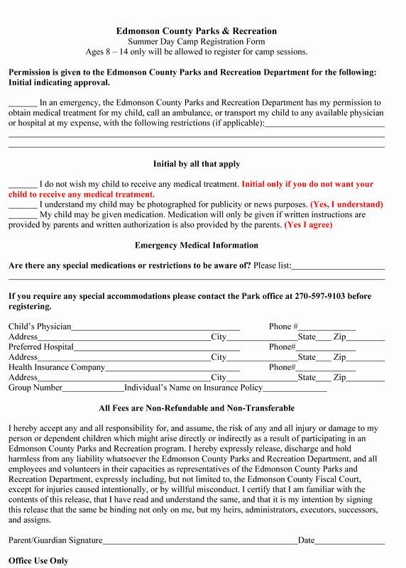 Registration form for Summer Camp New Parks and Rec Summer Day Camp Registration forms the