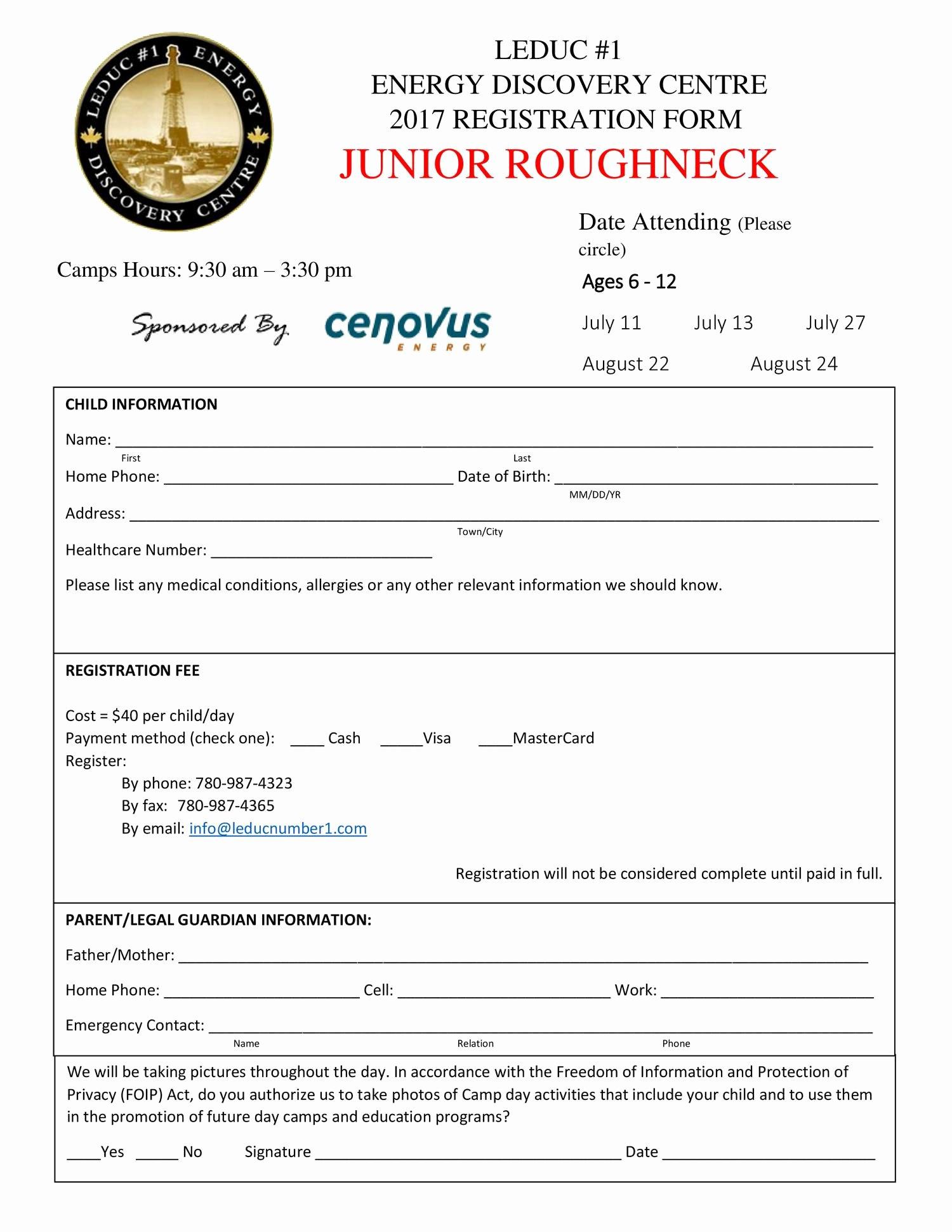 Registration form for Summer Camp New Summer Camp Registration form Jr 2017 Pdf Docdroid