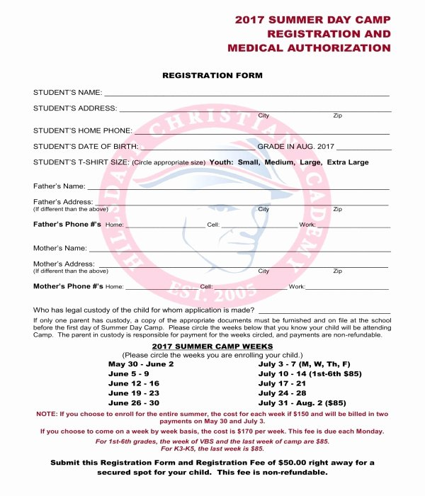 Registration form for Summer Camp Unique Free 10 Printable Summer Camp Registration forms