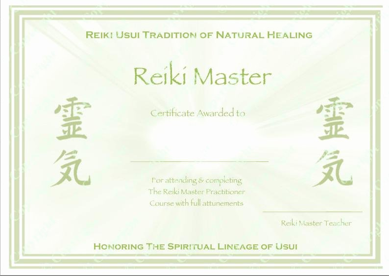 Reiki Certificate Template Free Download Elegant Personalised Plete Set Reiki Certificate Templates X4