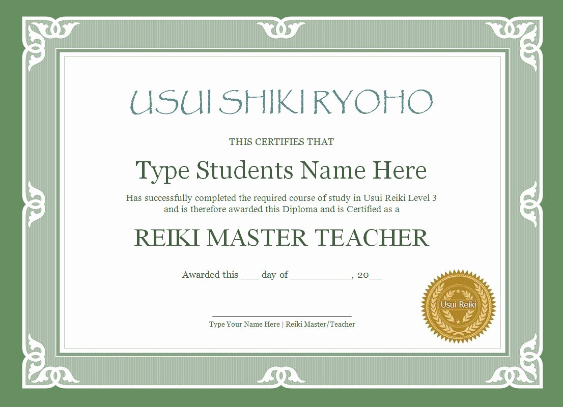 Reiki Certificate Template Free Download New Reiki Certificate Templates the Reiki Store