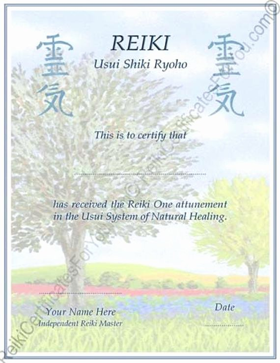 Reiki Certificate Template Free Inspirational Customized Reiki Certificate Templates Tree by