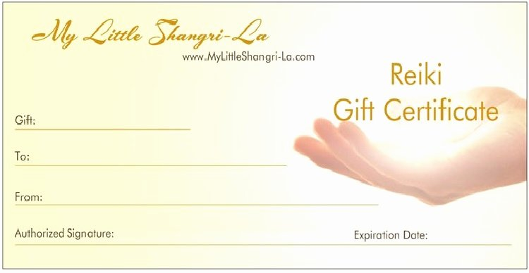 Reiki Certificate Template Free Unique Free Printable Reiki Gift Certificate