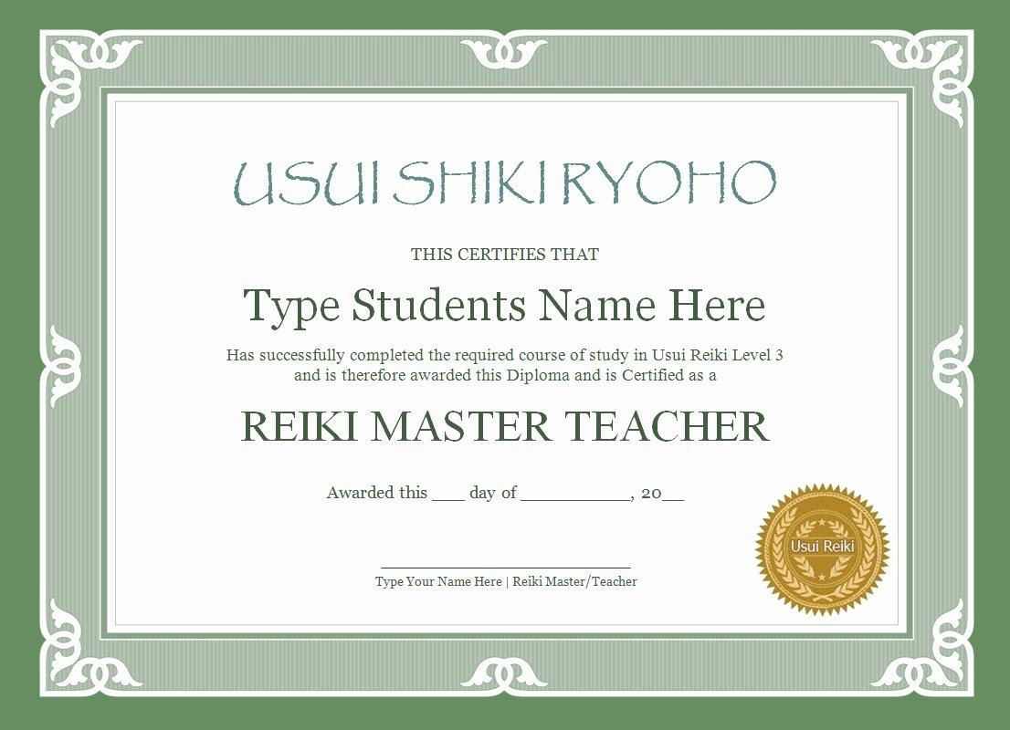 Reiki Certificate Template Free Unique Reiki Certificate Templates the Reiki Store