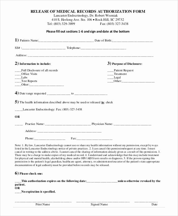 Release Of Medical Records form Awesome Generic Release forms