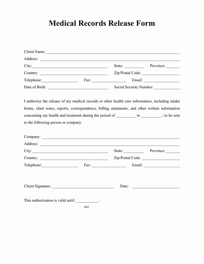 Release Of Medical Records form Elegant Medical Records Release form
