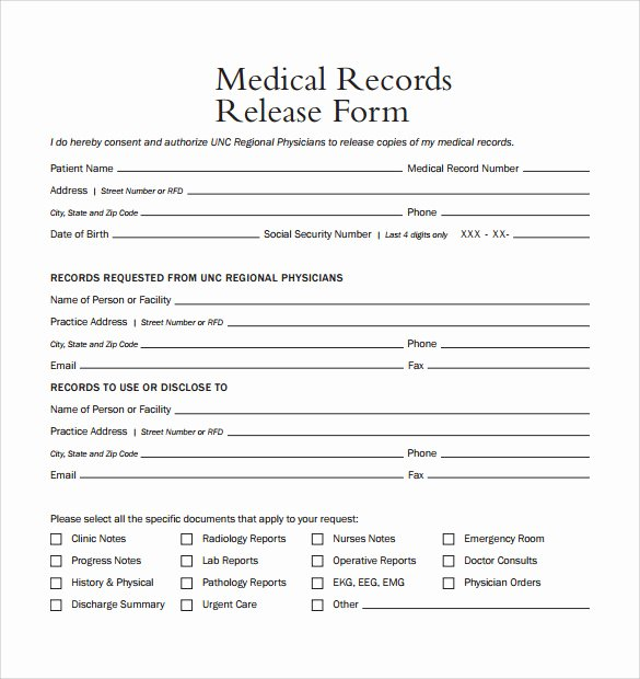 Release Of Medical Records form Lovely Sample Medical Records Release form 9 Download Free
