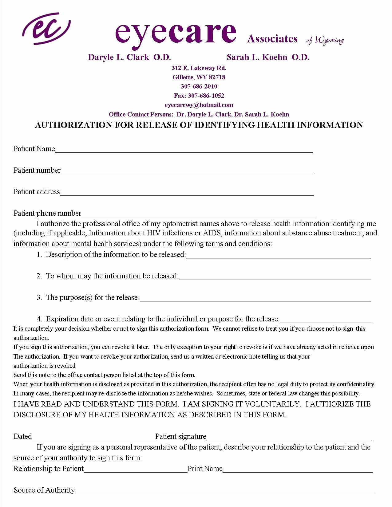 Release Of Medical Records form Luxury Appointments and Insurance Eyecare associates Of Wyoming