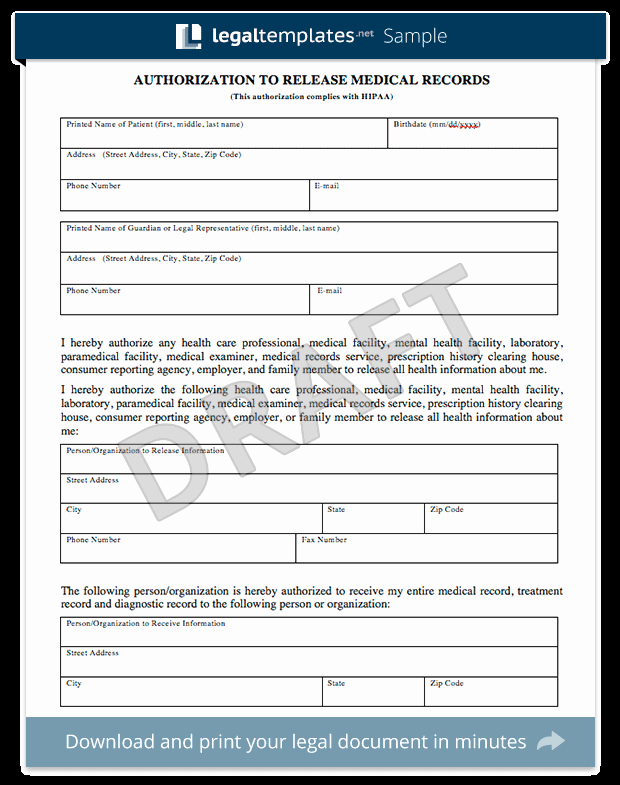 Release Of Medical Records form Unique Medical Records Release form
