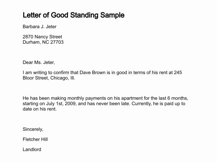 Rental History Letter Inspirational Letter Of Good Standing