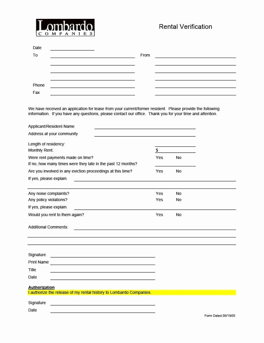 Rental History Letter Luxury 29 Rental Verification forms for Landlord or Tenant