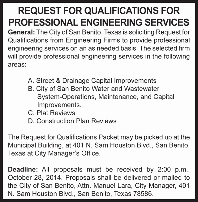 Request for Qualification Sample Elegant Consider This ' Ly In San Benito' – San Benito News