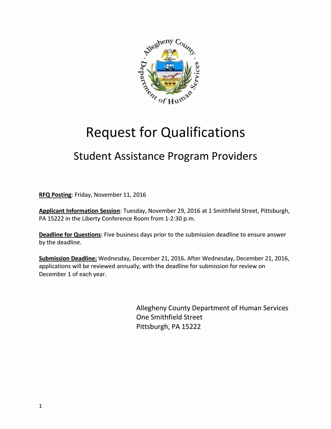 Request for Qualification Sample New Request for Qualifications by Acdhs issuu