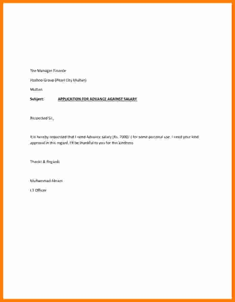Request for Salary New 10 Salary Advance Request Letter Sample