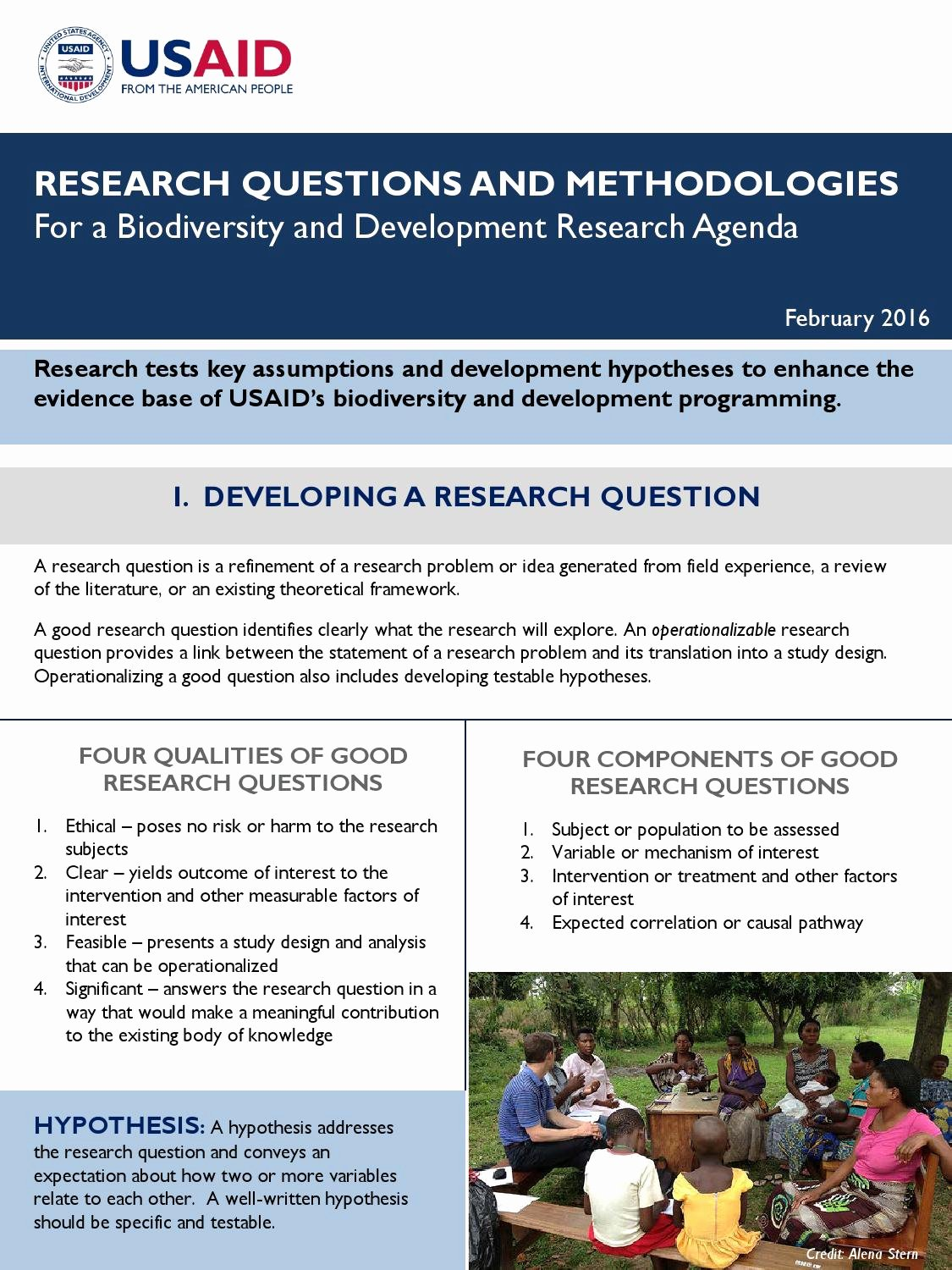 Research Agenda Example Fresh Research Questions and Methodologies for A Biodiversity