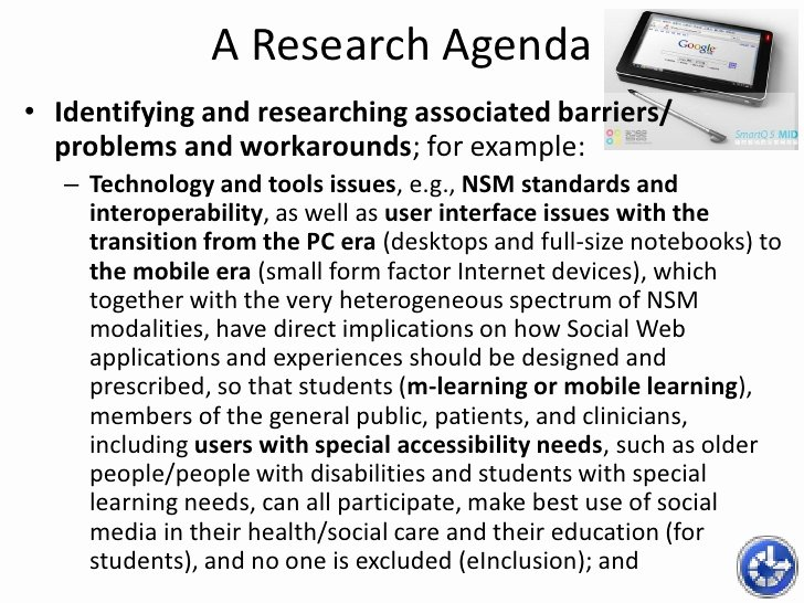 Research Agenda Example Unique Networked social Media In Learning Teaching and Research