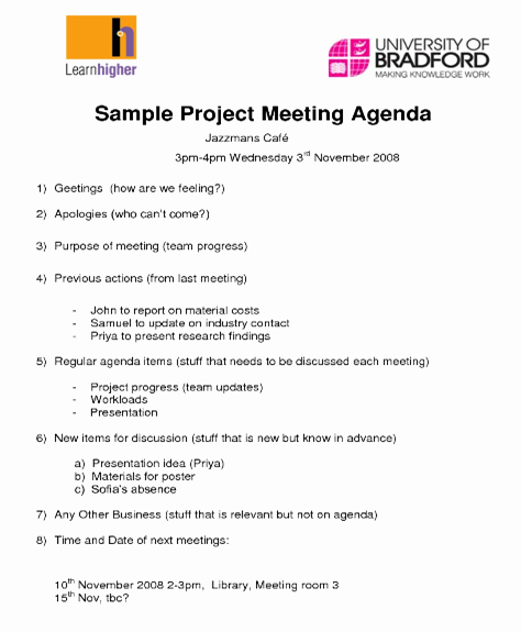 Research Agenda Sample Lovely Knowledge Seeker S Blog A Sample Project Meeting Agenda
