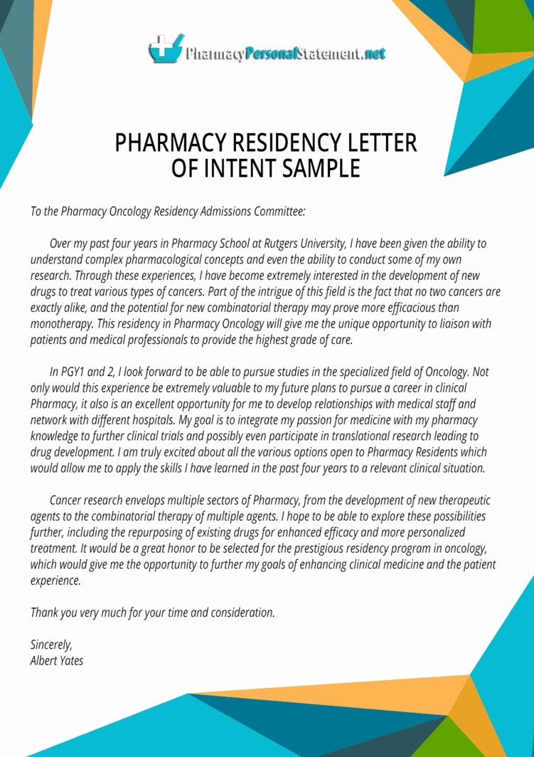 Residency Letter Of Intent Sample Best Of Pharmacy Residency Letter Of Intent Sample by