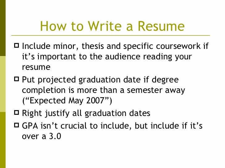 Resume Estimated Graduation Date Fresh Writing An Eye Catching Resume