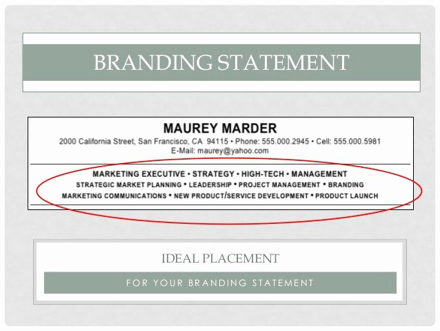 Resume Personal Branding Statement Unique Personal Branding and Your Resume 1 7 16 Final