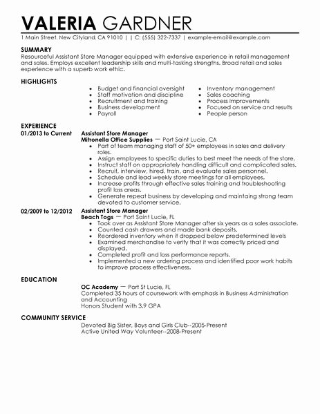 Retail Duties Resume Luxury assistant Store Manager Resume Sample – Printable Planner
