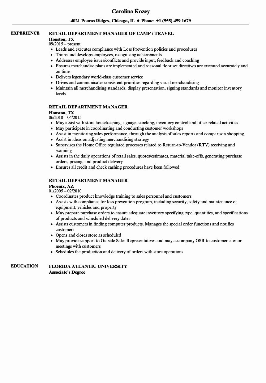 Retail Duties Resume Unique Retail Department Manager Resume Samples