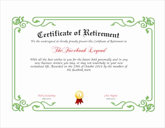 Retirement Certificate Templates for Word Awesome Free 7 Sample Retirement Certificate Templates In Pdf