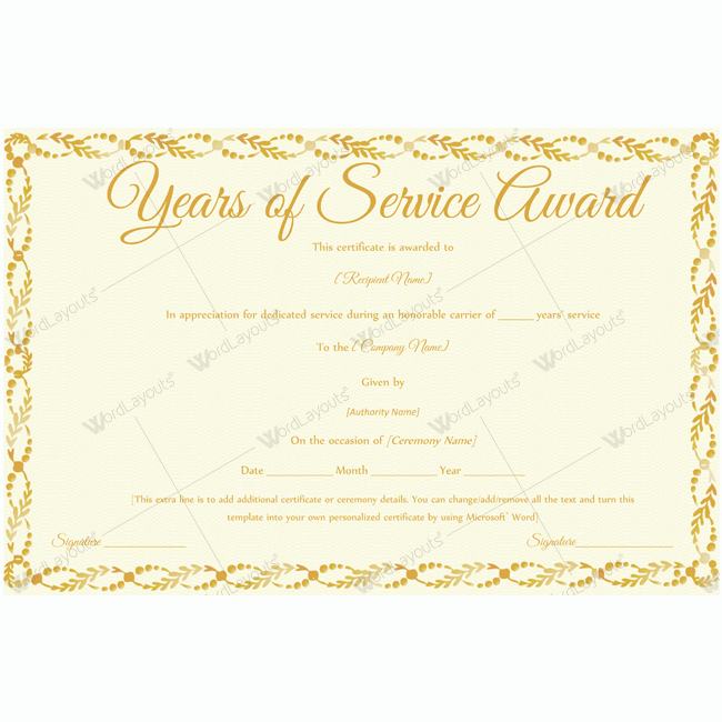 Retirement Certificate Templates for Word Beautiful Years Service Award 13