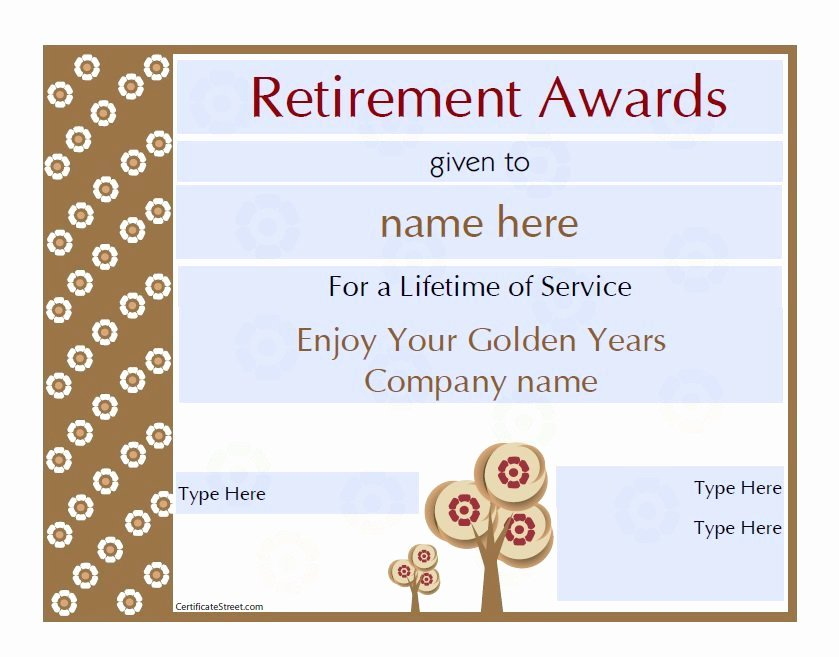 Retirement Certificate Templates for Word Elegant 50 Amazing Award Certificate Templates Template Lab