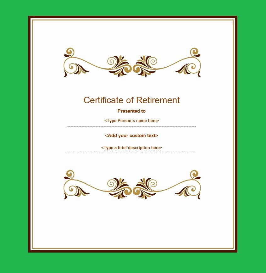Retirement Certificate Templates for Word Lovely 12 Retirement Certificate Templates