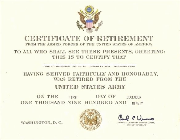 Retirement Certificate Templates for Word New Free 7 Sample Retirement Certificate Templates In Pdf