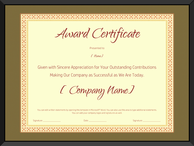 Retirement Certificate Templates for Word Unique Award On Retirement Certificate Template Editable and